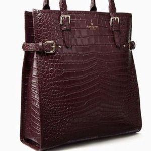 Kate Spade Brown Jasper Croc-Embossed Leather Tote
